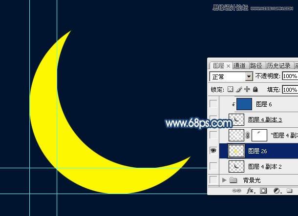 8、锁定图层像素区域,把月亮填充背景相同的颜色,如下图.-