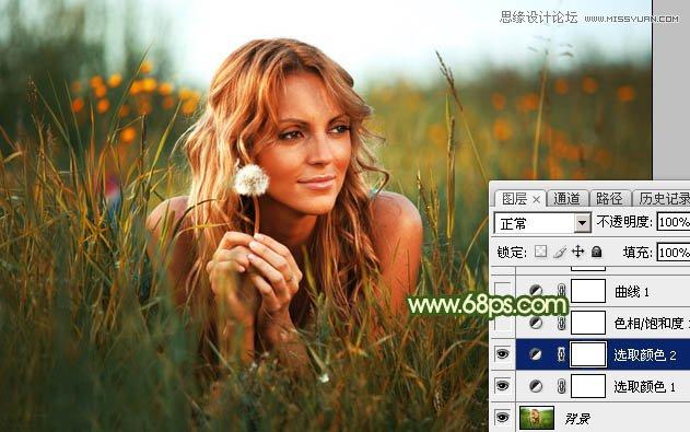 Photoshop调出唯美冷色效果的草丛美女照片