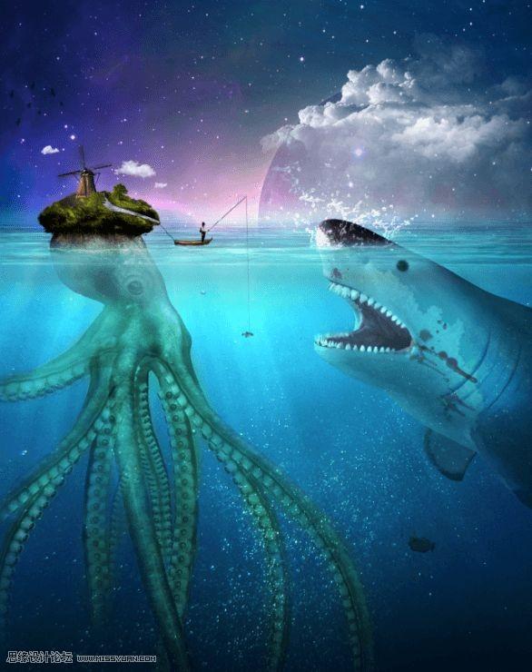 Photoshop合成章鱼岛渔夫出海钓鲨鱼教程