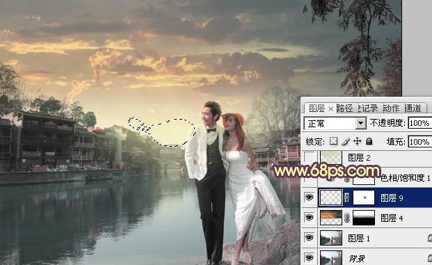 Photoshop打造漂亮晚霞效果的婚纱照片