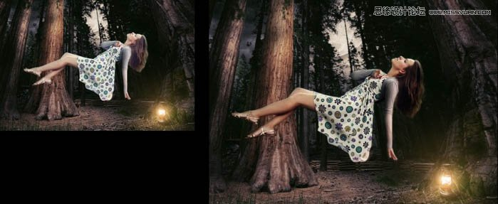 Photoshop合成森林中漂浮的女神海报教程