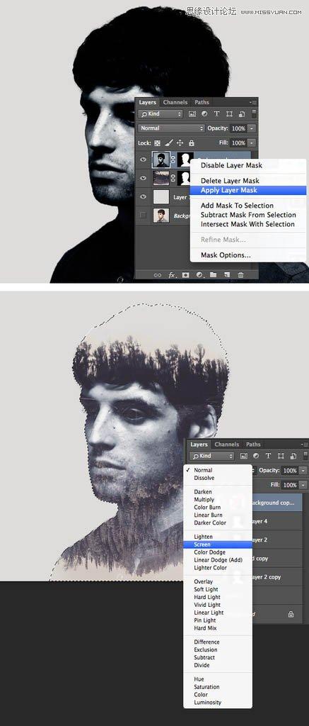 Photoshop制作二次曝光效果的水墨风格人像