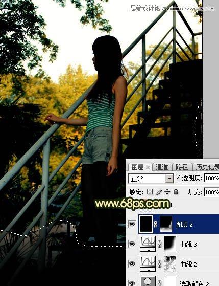 Photoshop制作黄昏光线效果的外景人像