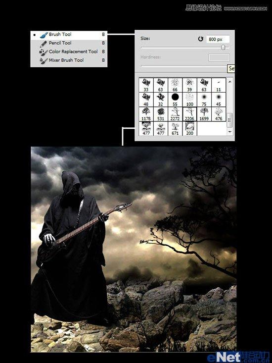 PS合成教程:合成正在弹着火吉他的巫师