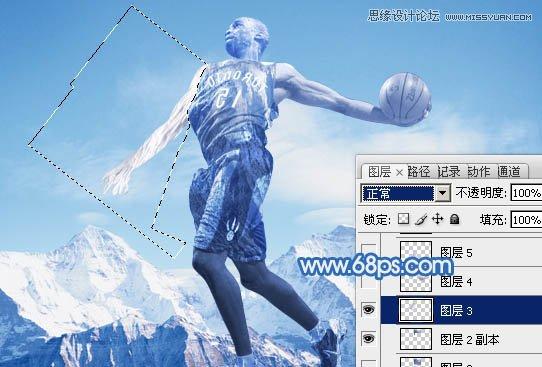 PS合成教程:合成震撼效果的灌篮冰人图片