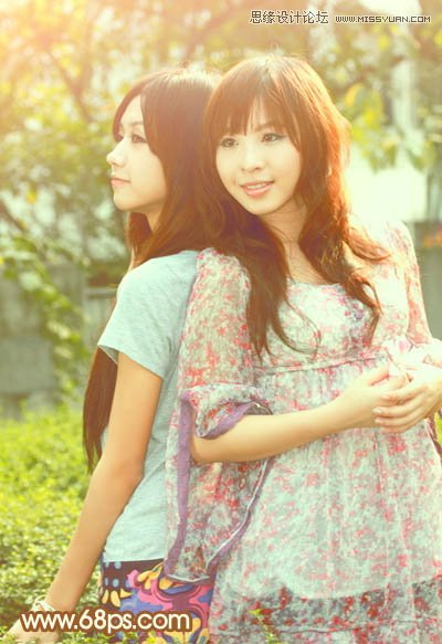 Photoshop调出甜美暖色调的可爱姐妹照片