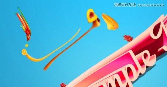 Photoshop设计3D水果效果的艺术字教程