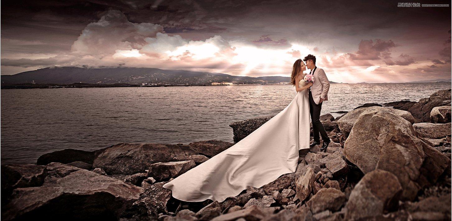 Lightroom调出暗色质感效果的海边婚纱照片
