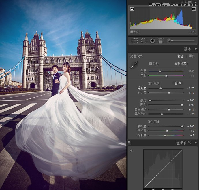 Lightroom调出高动态HDR效果的婚纱照片
