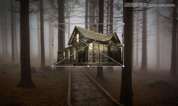 Photoshop合成黑暗森林中恐怖氛围的鬼屋