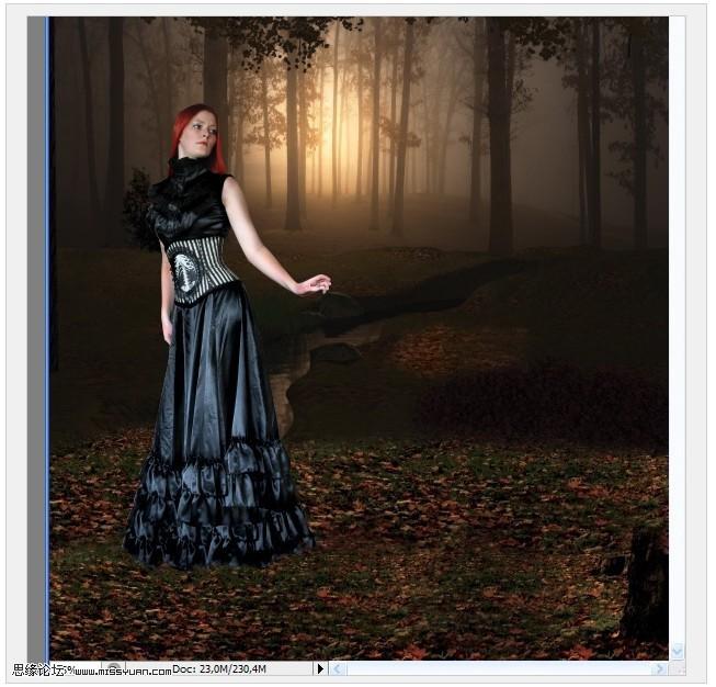 Photoshop合成唯美的森林里精灵天使图像