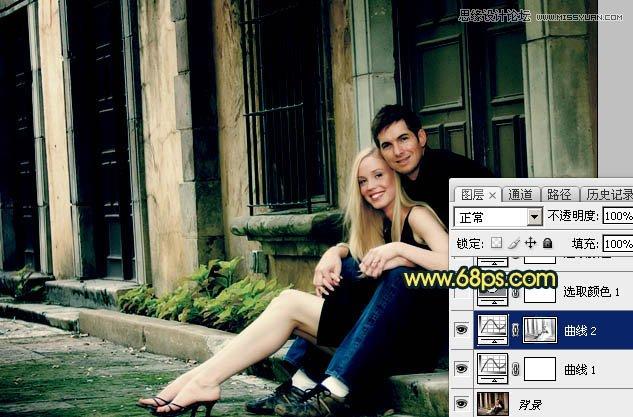 Photoshop给情侣照片添加青绿色漏光效果