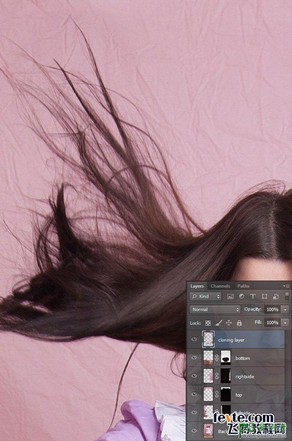 PS抠图给长发飘飘的女生照片制作美观背景
