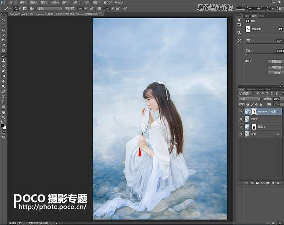 Photoshop调出唯美艺术蓝色调的河边古装美女