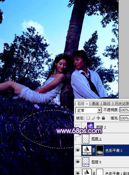 Photoshop调出浪漫的星空背景草地情侣照片