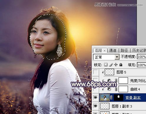 Photoshop调出紫色逆光效果的外景人像