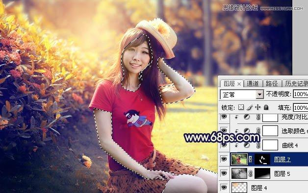 Photoshop调出怀旧逆光效果的外景人像照片