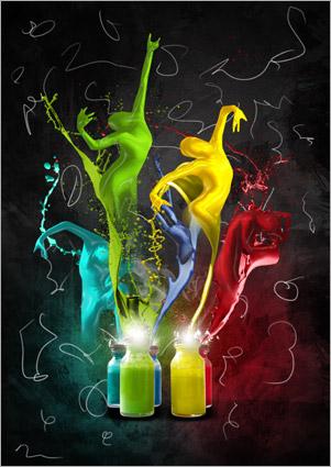 Photoshop合成跳舞造型的彩色油漆人物图案