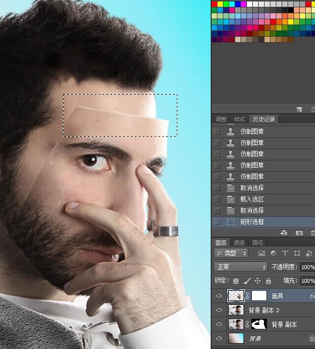 PS合成教程:给人物照片加戴真人面具教程