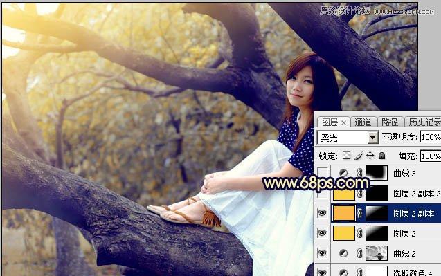 Photoshop调出唯美黄褐色逆光效果美女人像