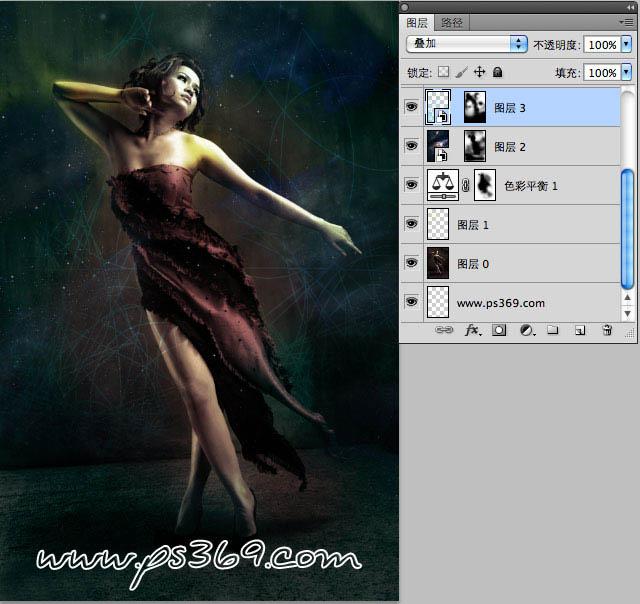 Photoshop合成绚丽光影特效的美女插画图片
