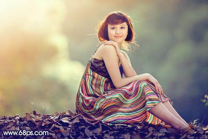 Photoshop调出黄绿色效果的短发美女图片