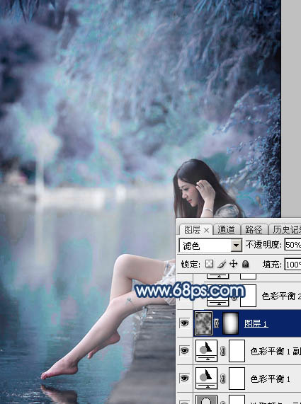 Photoshop调出唯美紫蓝色效果的湖边美女图片