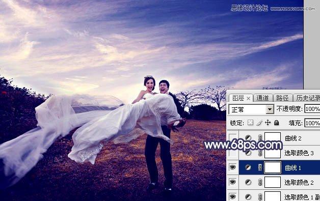 Photoshop调出梦幻暗紫色效果的外景婚纱照