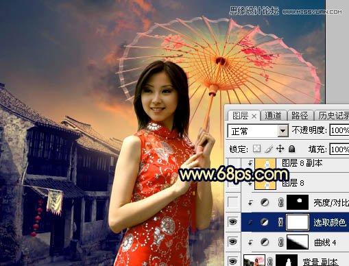 Photoshop给夕阳古典效果的古镇美女照片