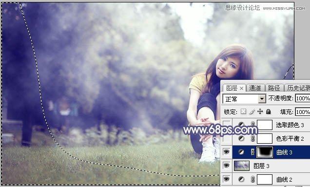 Photoshop调出唯美艺术蓝色调的草地女孩