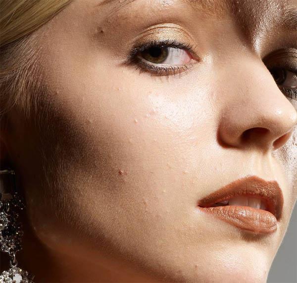 PS磨皮给模特脸部特写照片精修美化处理