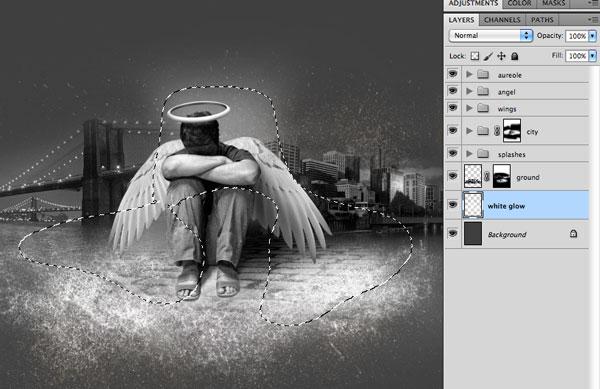 Photoshop合成雨夜中失落的落难天使照片