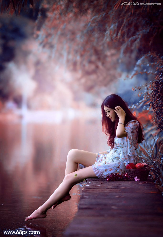 Photoshop调出梦幻紫红色效果的美女照片