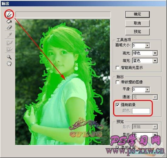 PS抽出滤镜给复杂人物照片抠图教程