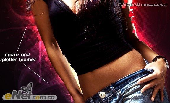 Photoshop设计绚丽光线效果的美女海报
