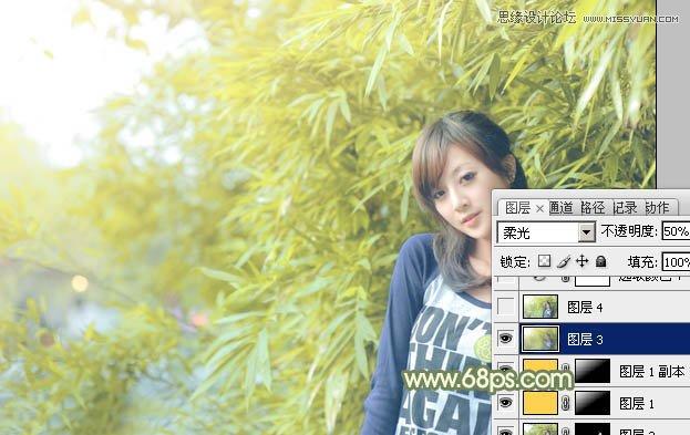 Photoshop调出淡淡日系效果的竹林美女
