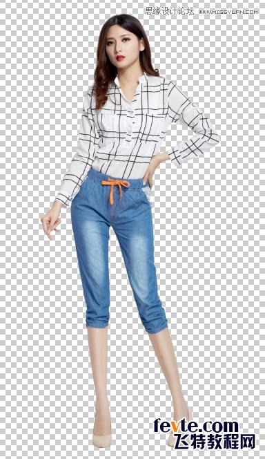 Photoshop保留模特阴影更换背景颜色教程