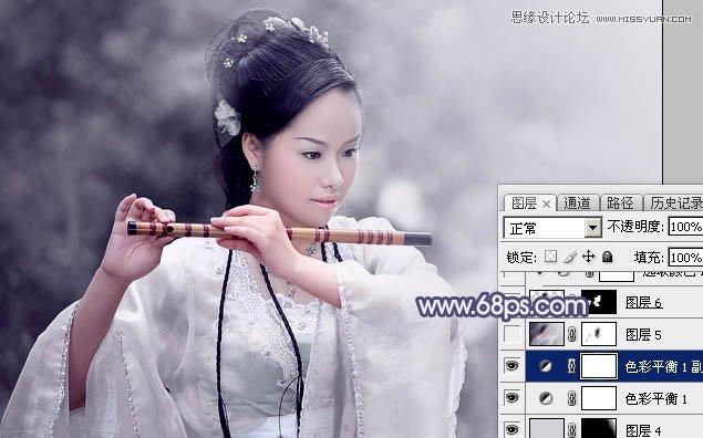 Photoshop调出唯美淡蓝色调的古装美女