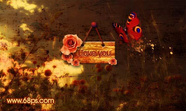 PS合成古典颓废的爱情主题风格壁纸