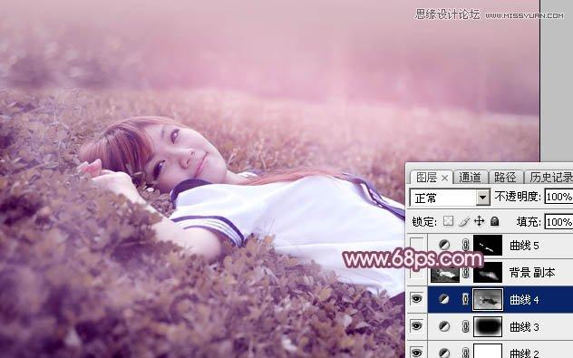 Photoshop调出唯美紫色效果的美女照片