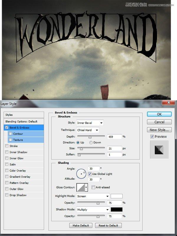 Photoshop合成被巫师施法术的悬浮房屋场景