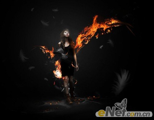 Photoshop合成制作炫酷火焰非主流女孩壁纸