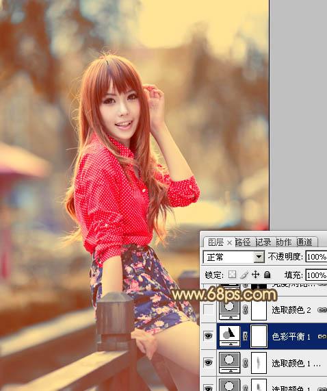 PS调色调出柔美红褐色效果的外景女孩照片