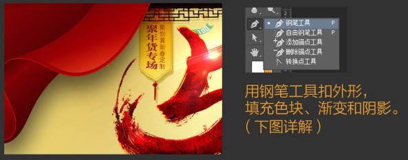 photoshop设计喜庆年货促销海报图片教程