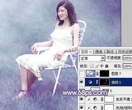 photoshop调出紫青色梦幻效果的美女照片