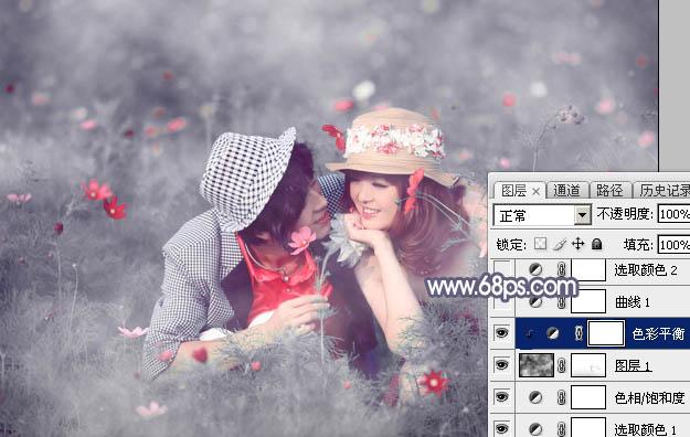 Photoshop调出紫灰色梦幻效果的情侣照片