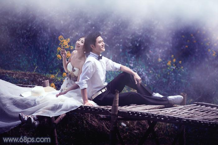 Photoshop调出梦幻深蓝色田园背景婚纱照片