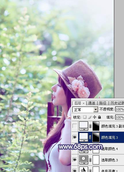 Photoshop调出清爽淡绿色效果的外景美女照片