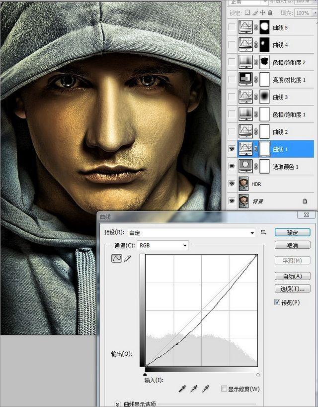 PS调色制作潮流古铜色HDR效果的男生照片