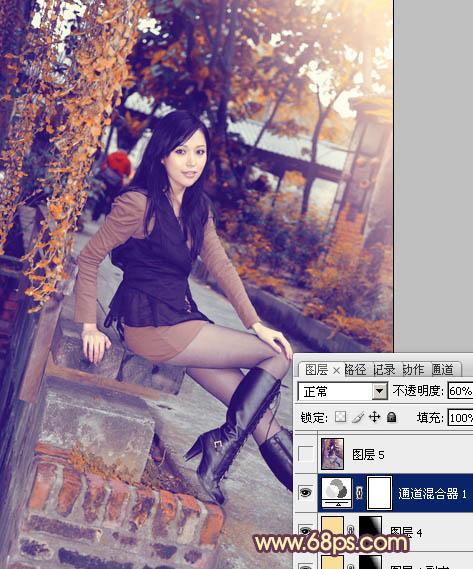 Photoshop调出橙紫色效果的公园美女照片